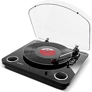 Ion Audio Max Lp Usb Plattenspieler Retro Mit Lautsprecher 3 Abspielgeschwindigkeiten Konvertierungssoftware Vinyl Zu Mp3 Für Mac Und Pc Schwarzer Pianolack Musikinstrumente