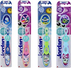 Jordan Step 3-5 years Toothbrush Designed with soft bristles Latest Design with Traveling Case BPA Free Imported Brush gentle to Teeth & Gems. Made in Malaysia (Random Color) (Pack Of 1)