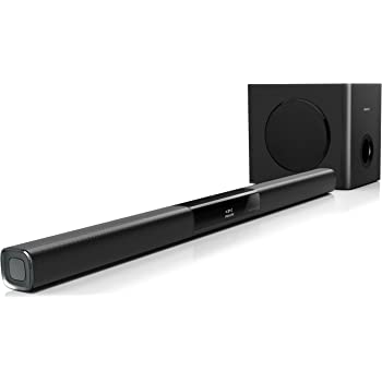 Philips HTL3140B Barre de son ultracompacte avec Bluetooth, NFC, Caisson de basses sans fil 200 W, Noir