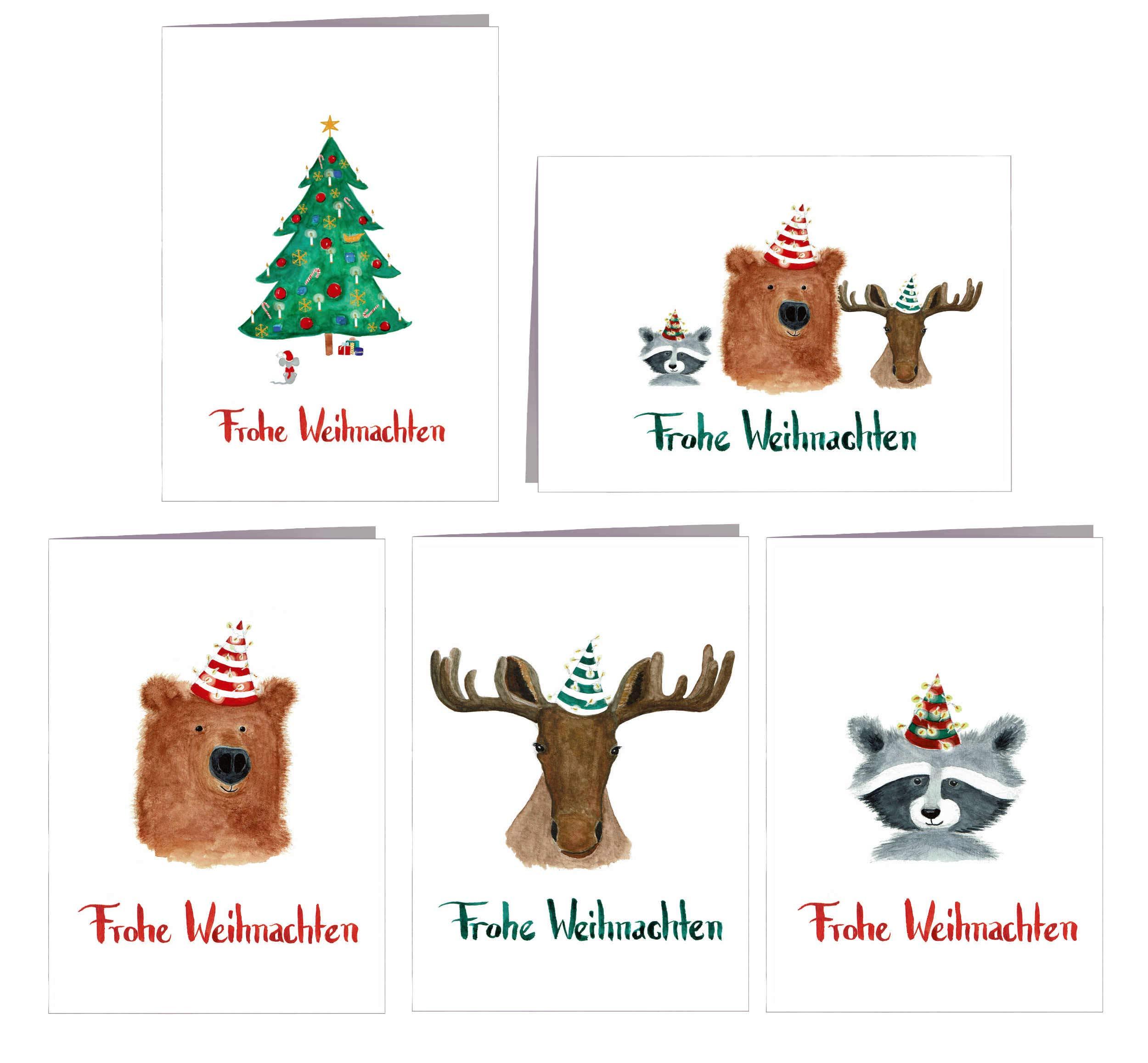 Weihnachtskarten Tiere.Weihnachtskarten Set Frohe Weihnachten 5er Tiere Grusskartenkaufen De