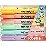 Kores HighLiner Plus Pastel, Stylo Surligneur, pointe biseautée, marqueur de texte, Lot de 6 couleurs pastel tendance 36060