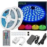 10M Tira LED RGB, Minger 300 Leds 5050 SMD Tiras de Led Multicolor Impermeable, Tira LED de Luces LED Kit Completo con Contro