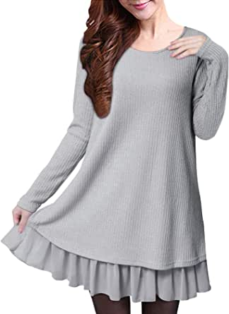 ZANZEA Donna Maglione Camicetta Maglie Pullover Donna Top Lungo Vestitino Invernale Camicetta Corto Elegante Casual Moda Camicia Autunno Inverno