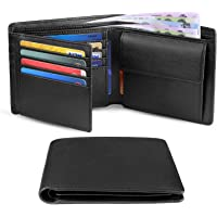 HOCRES® Wallets Men Genuine Leather RFID Blocking Slim Trifold Wallets with Coin Pocket, 10 Credit Card, ID Window…