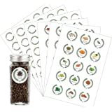 Azatemgo 105 PCS Etiquette épices Lot de 45 étiquettes épices autocollantes avec motifs et lettres d'épices pour pots à épice