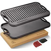 Overmont Pre-Seasoned Cast Iron Reversible Griddle Grill Pan with Handles for Gas Stovetop Open Fire Oven, 43.18*24.89CM…