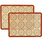Amazon Brand – Eono Lot de 2 Tapis de Cuisson en Silicone - Antiadhésif Feuille de Patisserie Reutilisable, Toile de Cuisson