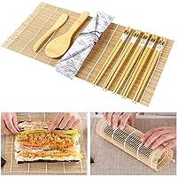 ZITFRI Kit de Fabrication de Sushi en Bambou 10 pcs Kit à Sushi Préparation à Sushi Kit Sushis Complet avec 2 Tapis…