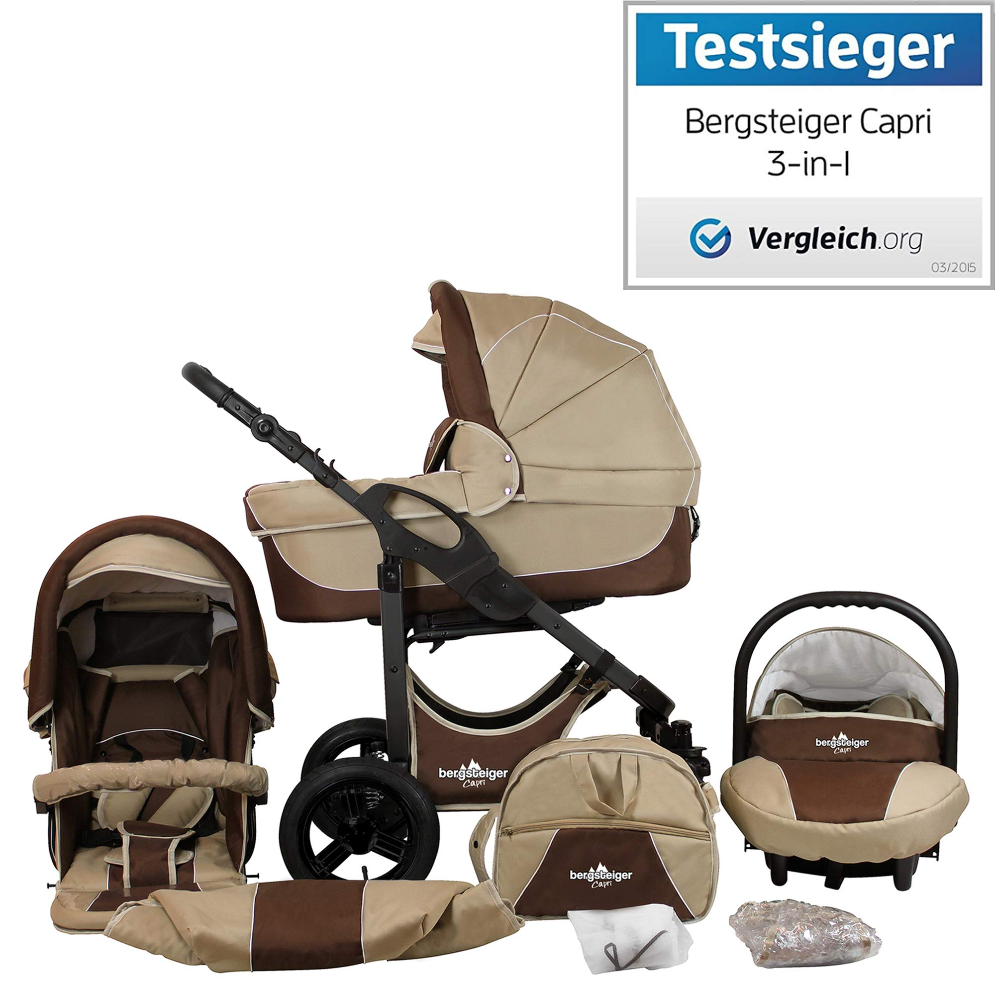 Bergsteiger Capri Coffee & Brown | Gestell: anthrazit Kinderwagen 3 in 1 Kombikinderwagen Megaset 10 teilig inkl. Babyschale, Babywanne, Sportwagen und Zubehör