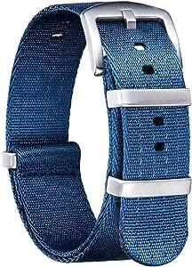 BINLUN Bracelet de Montre en Nylon Militaire NATO Remplacement Bracelet Montre avec Boucle en Acier Inoxydable Hommes Femmes 20 Couleurs 18mm 20mm 22mm 24mm (Version de Mise à Niveau)