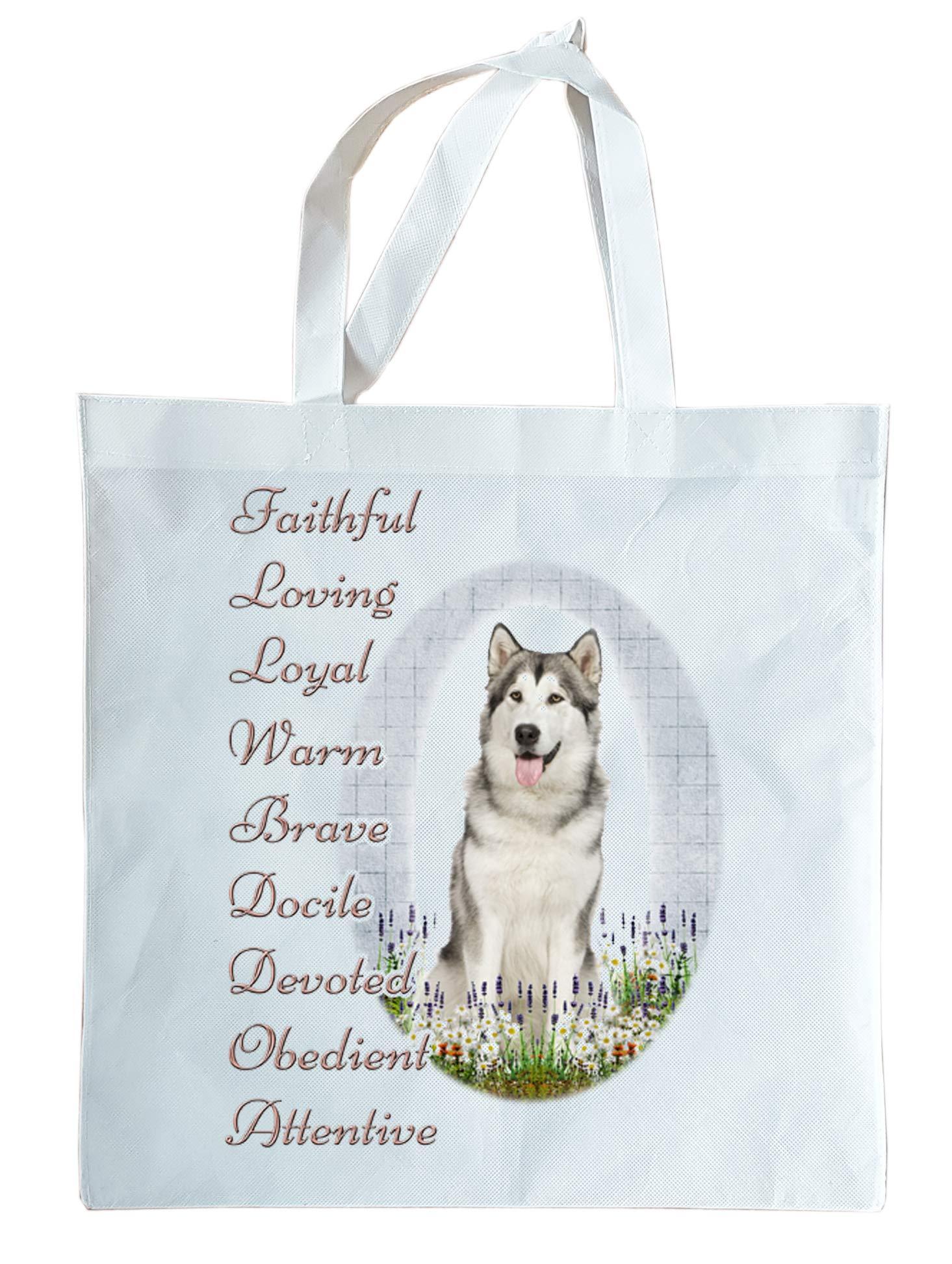 Alaskan Malamute Light Weight Gift Tote Bag Faithful, Loving Loyal. Can Be Personalised.