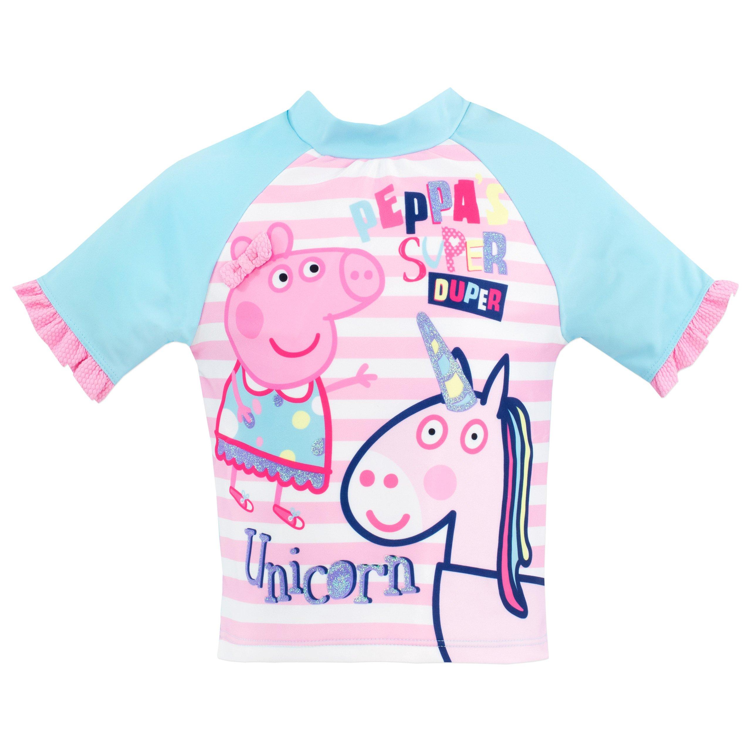 Le Ragazze Costume da bagno e borsa abbinata con dettaglio Peppa Pig in blu o rosa