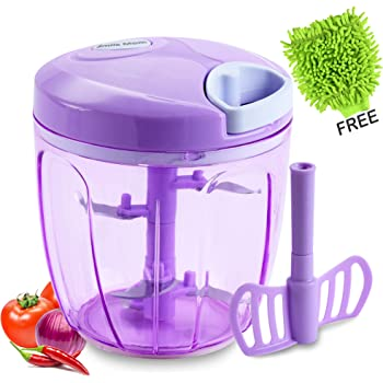 Smile Mom Turbo Vegetable Chopper, Cutter, Whisker Set for Kitchen, 5 SS Blade + Whisker Blade (900 ML) With Microfiber gloves