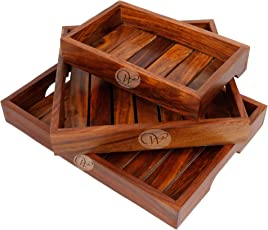 Wood Art Store Handmade Modern Wooden Tray - Set Of 3 - Serving Tray Set