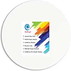 KetKraft Premium Stretched Round Canvas Frame (1 unit of prestretched canvas) Cotton Medium Grain Acid Free Sizing Double Acrylic titanium with anti-fungal treatment Natural Cotton Duck for Painting with Acrylic/Oil Colours