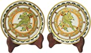 eCraftIndia Parrot Etched Decorative Plates (Set of 2) (6 in, Yellow,Red)