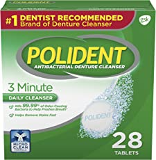 Polident 3 Minute Antibacterial Denture Cleanser Effervescent Tablets, 28 count