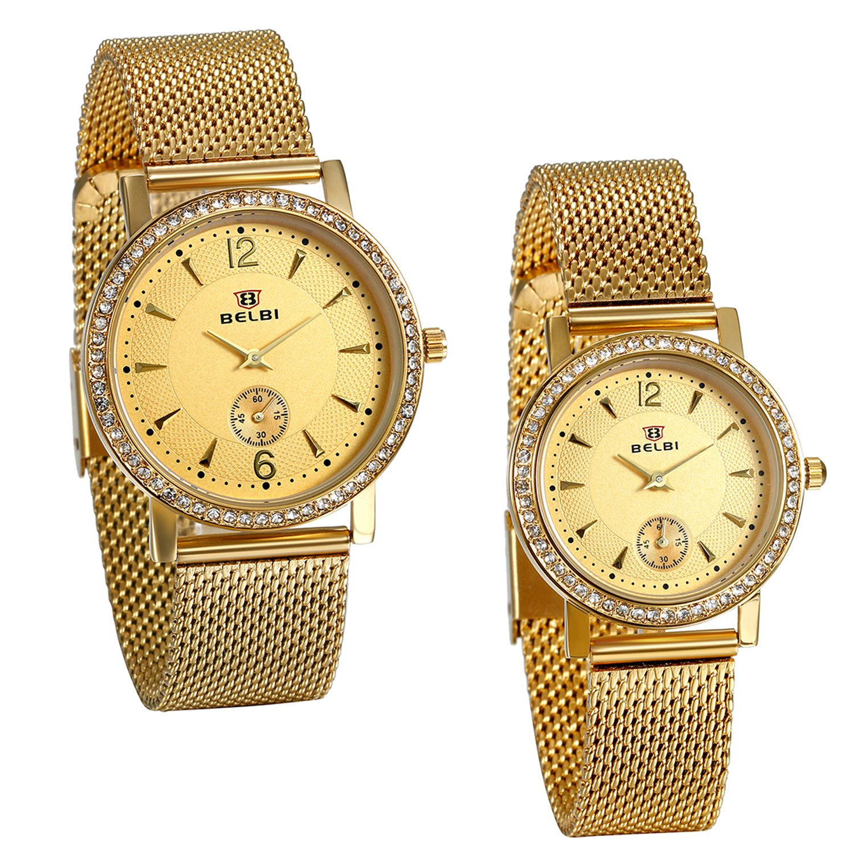 JewelryWe 2pcs Partner-Armbanduhr Paar Uhren Analog Quarz 30M Wasserdicht Gold Armbanduhr mit Edelstahl Milanese Mesh Armband und Strass Lünette, Herren Damen