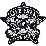 "Parche bordado para chaqueta de motocicleta con texto en inglés ""Live Free Ride Free Ride gratis"", color negro"