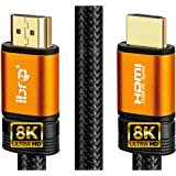 IBRA 2.1 Oranje HDMI-kabel 8K Ultrahoge snelheid 48 Gbps Lood | Ondersteunt 8K @ 60HZ, 4K @ 120HZ, 4320p, Fire TV, 3D-onderst