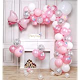 PartyWoo Pink Balloons, 100 pcs Pack of Pink Balloons, Pastel Pink Balloons, Silver Confetti Balloons, White Balloons, Bow Ti