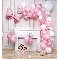 PartyWoo Palloncini Rosa, 100 Pezzi Palloncini Rosa, Palloncini Rosa Pastello, Palloncini Argento, Palloncini Bianchi…