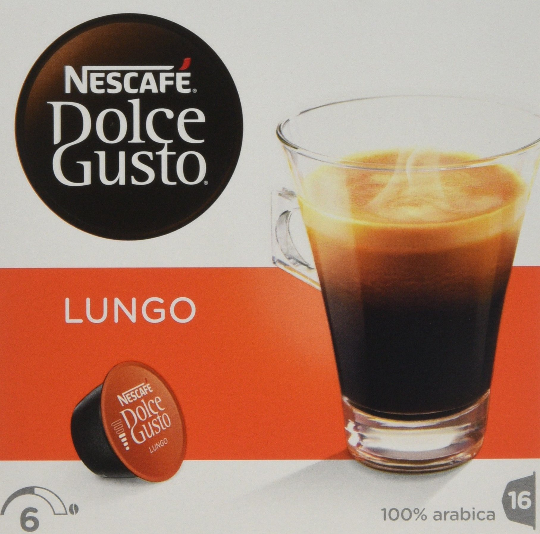 Nescafé Dolce Gusto Lungo coffee pods and capsules (a blackcurrant sweetness coffee with aromas of fresh fruit and petals)