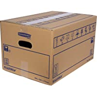 BANKERS BOX 10 SmoothMove Heavy Duty Double Wall Cardboard Moving and Storage Boxes with Handles, 39 Litre, 26 x 32 x 47 cm, 10 Pack