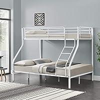 [Neu.Haus]®] Cadre de lit superposé en métal Armature Massive pour 3 Personnes 210cm x 147,5cm x 168cm Blanc