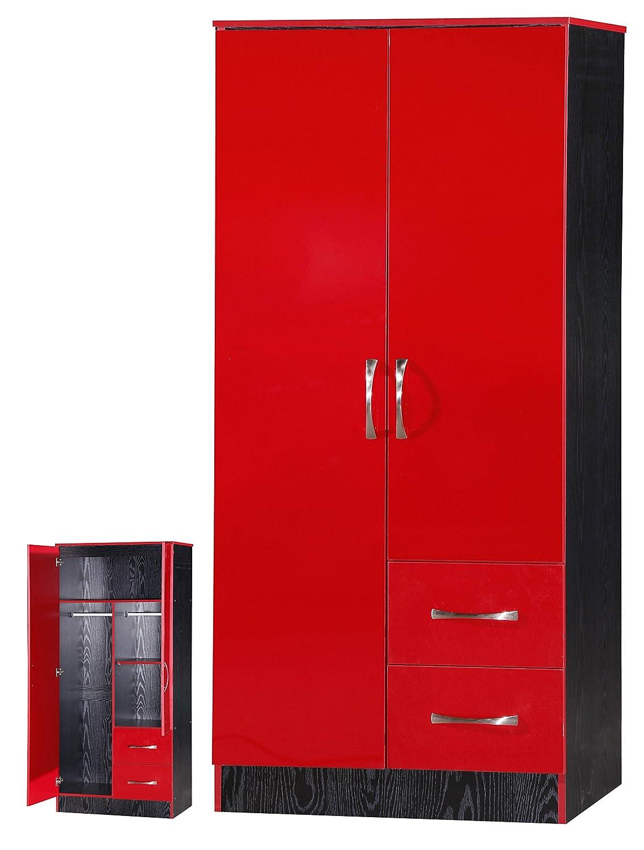 MARINA 2 DOOR DOUBLE COMBINATION WARDROBE ULTRA HIGH GLOSS QUALITY UNITS  (RED GLOSS U0026 BLACK ASH): Amazon.co.uk: Kitchen U0026 Home
