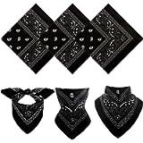 Ruisita 3 Pack Multi-purpose Bandanas Paisley Print Cowboy Headband Scarf Unisex Headwraps