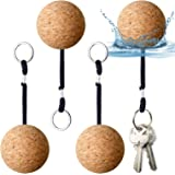 Floating Cork Keyring, 53mm Floatable Wooden Ball Key Chain Water Buoyant Key Ring Lightweight Water Sports Accessories for S