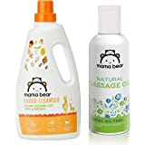 Mama Bear Natural Baby Massage Oil - 200 ml & Mama Bear Plant Based Baby Liquid Cleanser - 1 L (For baby bottles, accessories