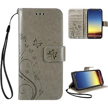 "Leathlux Wallet Cover Huawei P20 Lite, Custodia Huawei P20 Lite - Retro Flowers Design Pattern Custodia In Pelle Con Wallet Case Cover Per Huawei P20 Lite 5.84"" Grigio"