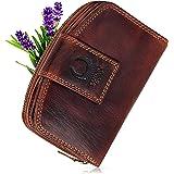 Corno d´Oro Portafoglio da donna in pelle vintage con protezione RFID cerniera portamonete accessori per donne, marrone