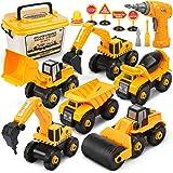 Dreamon Vehículo de Construcciones Juguete, Ensamblarde Excavadora Tractor con Taladro-Eléctrico Juguetes Educativos Regalos