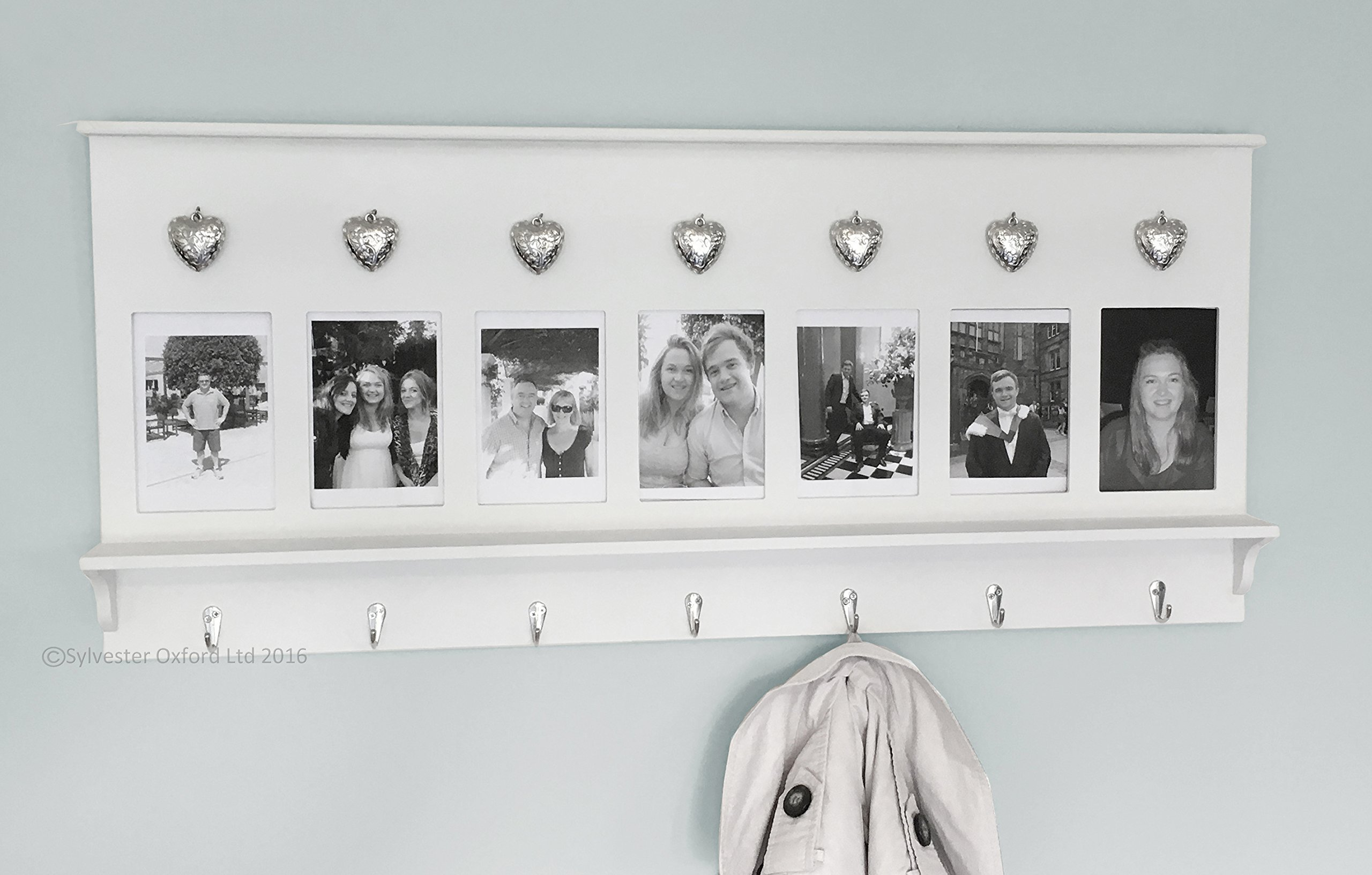 Wall Mounted Coat Rack Wooden Shelving Unit Hooks Photo Frames ...