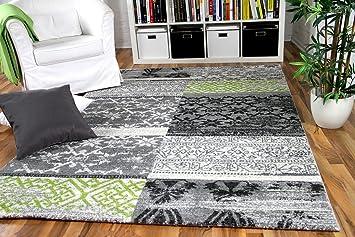 wohnzimmer designer gabbeh teppich vintage patchwork grau grün ... - Vintage Wohnzimmer Grun