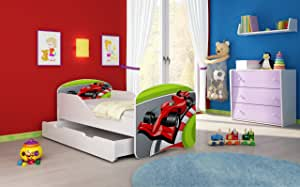 ChildrensBeds Home Single Bed Oscar For Kids Children Toddler Juniors With Drawers and 6 cm Foam Mattress Included White, 180x80