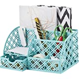 EXERZ Desk Organiser/Mesh Desk Tidy Caddy/Pen Holder/Multifunctional Organiser with 7 Compartments (Turquoise)