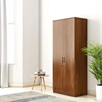 Amazon Brand - Solimo Medusa Engineered Wood 2 Door Wardrobe (Walnut finish)