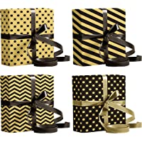 """LussoLiv Premium Gift Wrapping Paper Sheets 4 Designs X 3 Sheets (12 Wrapping Sheets) Size 17""""x 24"""" - Black and Gold"""