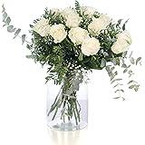 Ramo 12 Rosas Blancas | ENTREGA GRATIS 24 HORAS | Flores Naturales a Domicilio Blossom® | Ramo de Rosas Naturales a Domicilio