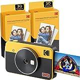 Kodak Mini Shot 2 Retro, camara instaneae e impresora fotos movil, iOS e Android, Bluetooth, Tecnologia 4Pass, 54x86mm -Giall