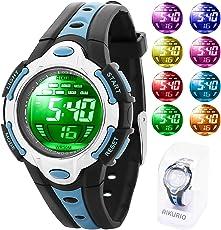 AIKURIO Kinder Digitales Uhr 50M Wasserdicht mit 8 Farben LED-Leuchten und Silikon Armband für Sport Freien AKR006