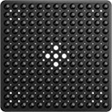 XIYUNTE Square Shower Mat Non Slip Anti Mould - 53 x 53cm/21 x 21inch Anti Slip Black Shower Mat with Suction Cup, Antibacter