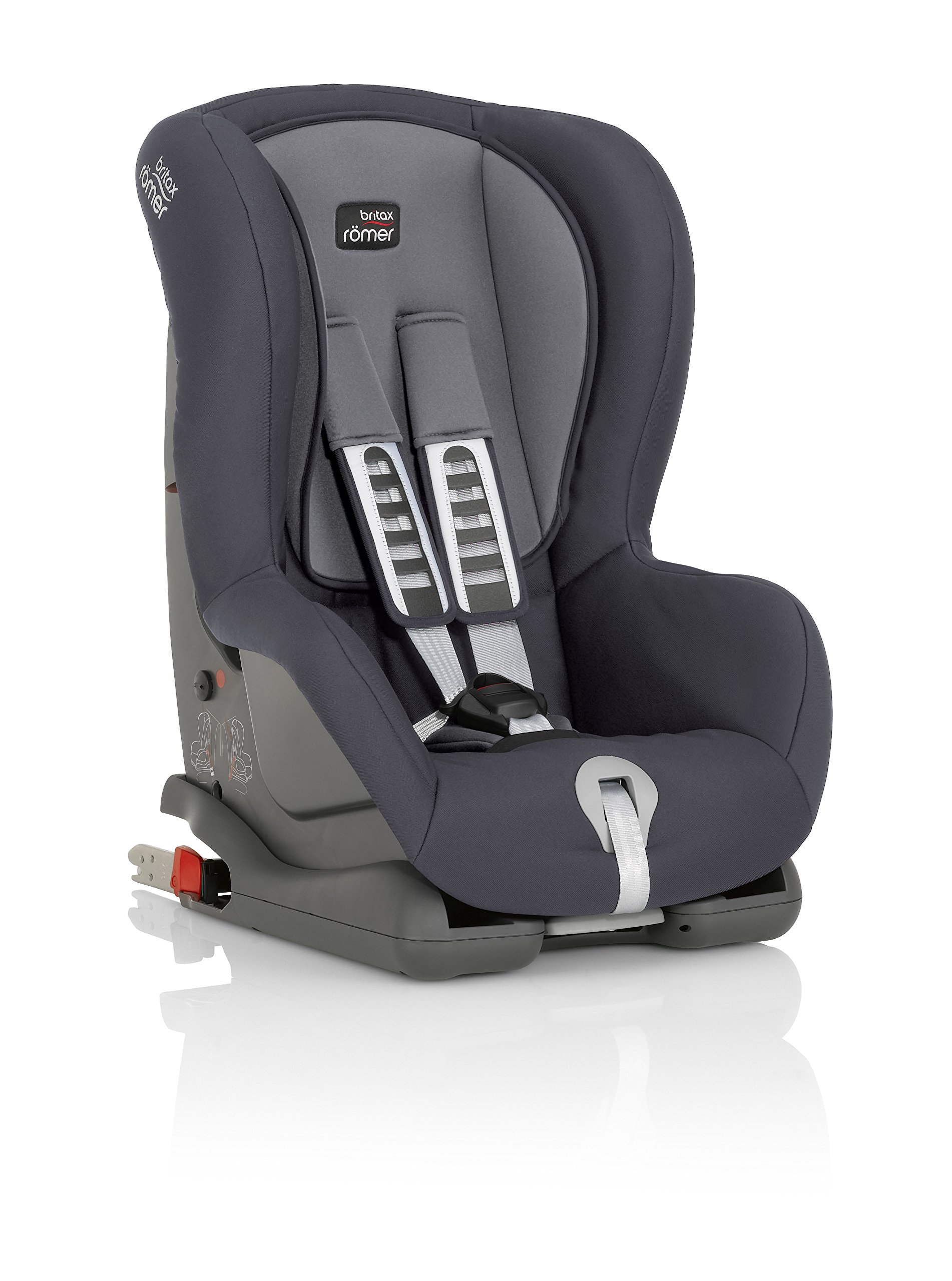 Britax Römer car seat, DUO PLUS Isofix group 1 (9-18 kg),Storm Grey Britax Römer Compatible with ISOFIX or 3-point seat belt installation this seat caters to any car Comfort without compromise - deep, padded side wings and multi-position recline Pivot link system to reduce forward movement in the event of an accident 4