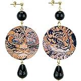 IN Lebole Collezione The Circle DOR08 Tigre Orecchini da Donna in Ottone Pietra Nera