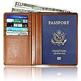 AurDo RFID Blocking Genuine Leather Passport Holder Cover Case Travel Wallet Document Organizer