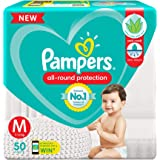 Pampers All round Protection Pants, Medium size baby diapers (MD) 50 Count, Anti Rash diapers, Lotion with Aloe Vera